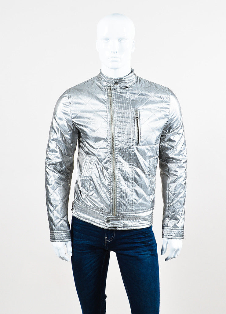 Men's Dolce & Gabbana Metallic Silver Quilted Moto Jacket Front 2