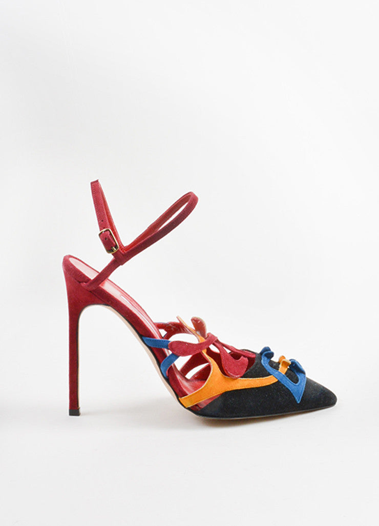 Manolo Blahnik Multicolor Suede Abstract Pointed Toe Slingback Pumps Sideview