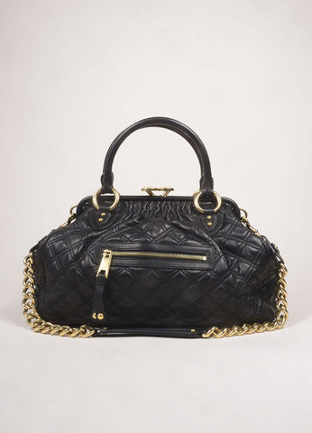 "Marc Jacobs Black Leather Quilted Chain Strap ""Stam"" Bag Frontview"