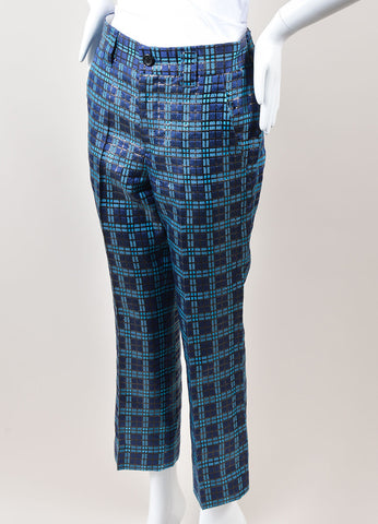 Marc Jacobs Blue and Black Metallic Silk Windowpane Plaid Cropped Trousers Sideview