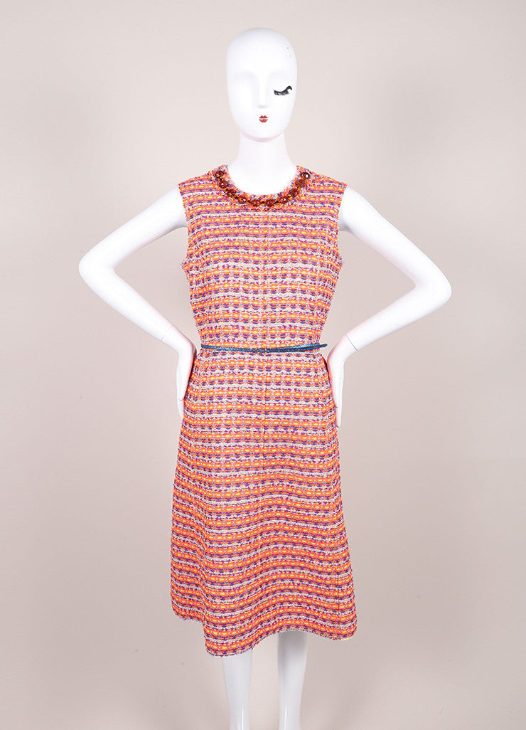 Marc Jacobs New With Tags Orange, Purple, and Multicolor Woven Tweed Belted Dress Frontview