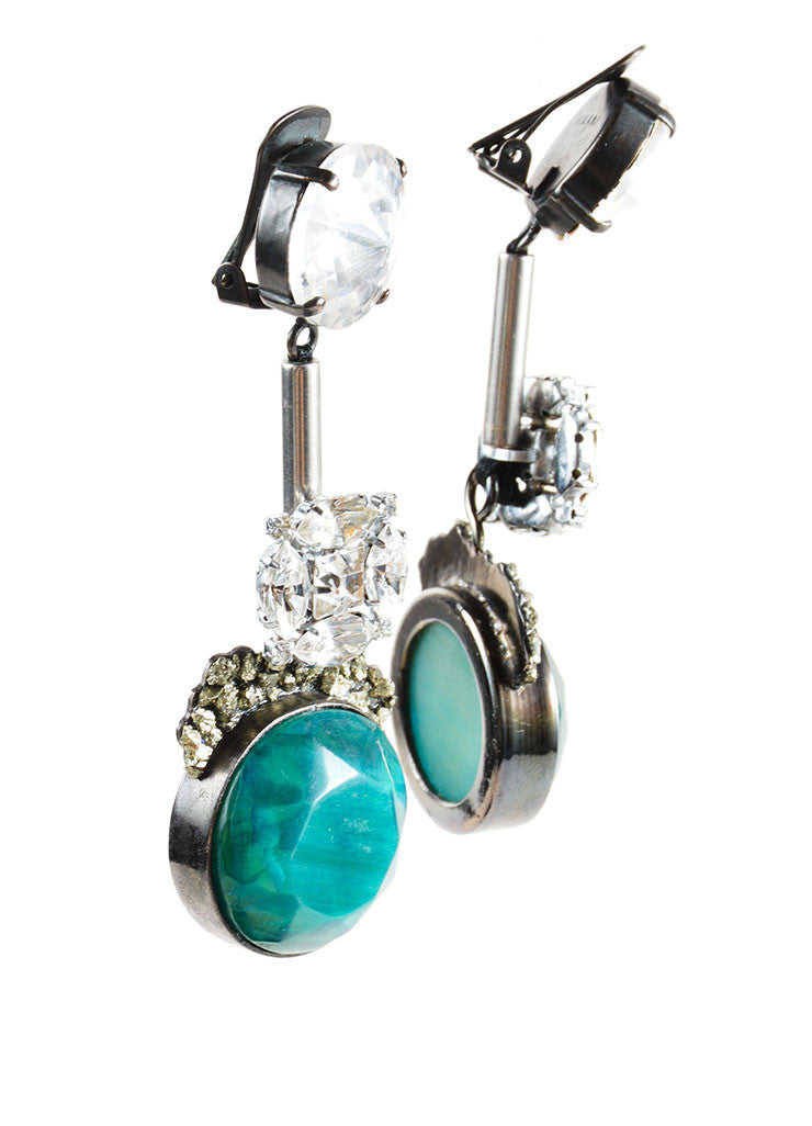 Marni Green Horn Stone Swarovski Crystal Pyrite Accent Drop Earrings Sideview