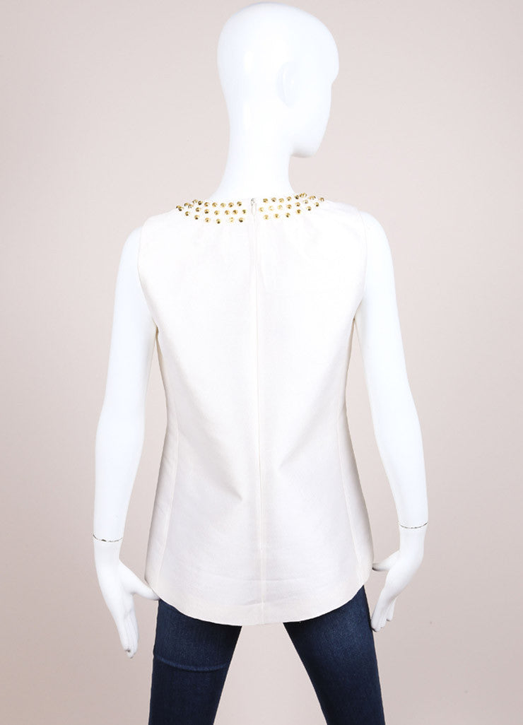 Michael Kors New With Tags White and Gold Wool and Silk Blend Studded Sleeveless Top Backview