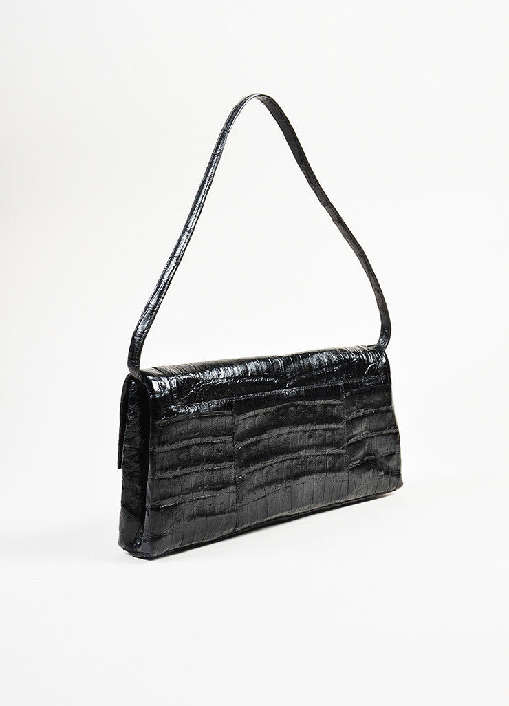 "Nancy Gonzalez Black Crocodile Leather ""Gotham"" Flap Clutch Shoulder Bag Sideview"