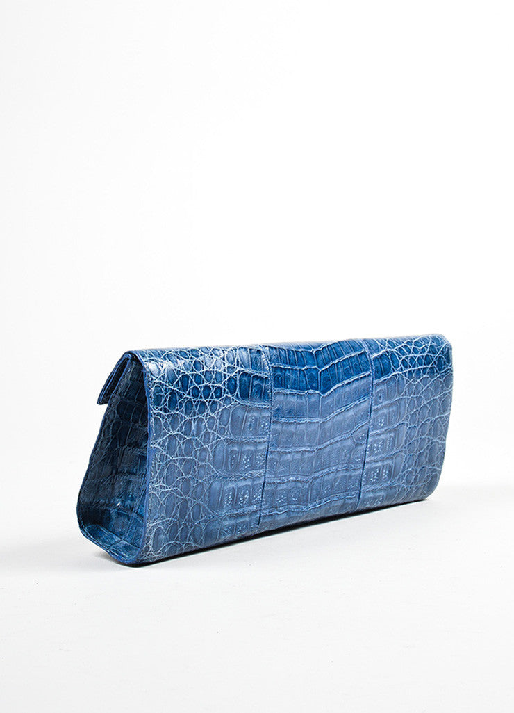 Nancy Gonzalez Dark Blue Crocodile Folded Flap Clutch Bag Sideview
