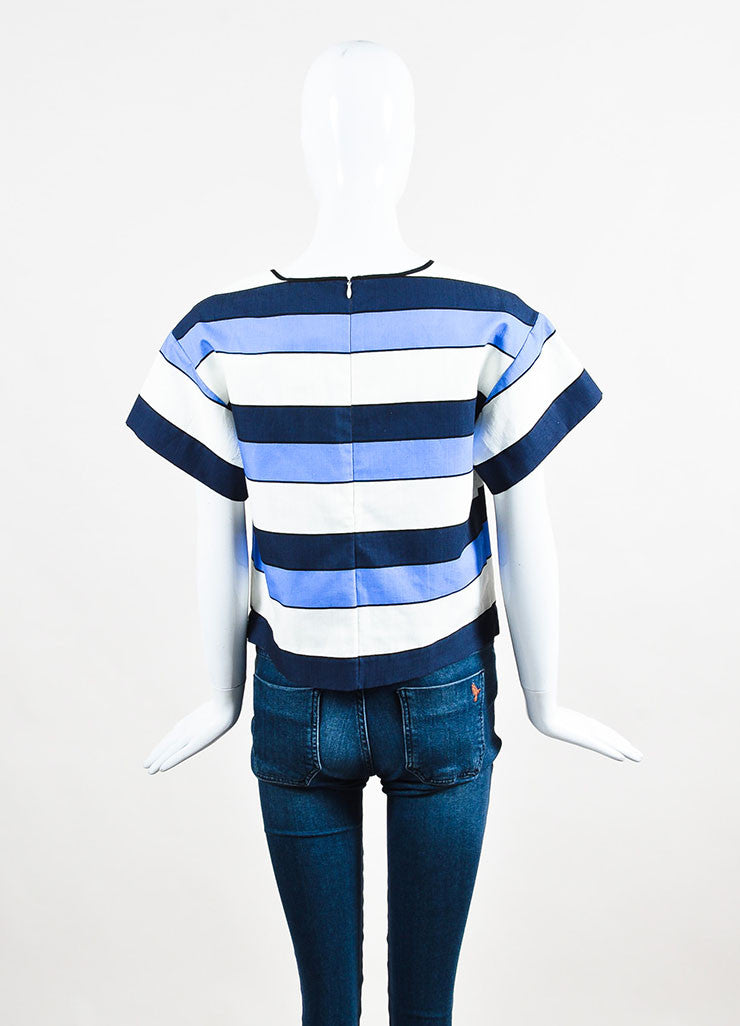 Piazza Sempione Blue and White Linen Striped Short Sleeve Boxy Top Backview