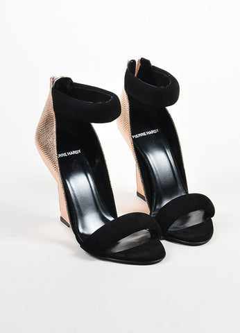 "Black Pierre Hardy Rose Gold Watersnake Suede ""Amanda"" Wedges Front"