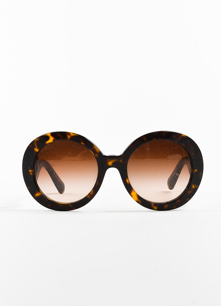 "Brown & Yellow Prada Tortoise Shell SPR 27N Round ""Baroque"" Sunglasses Front 2"