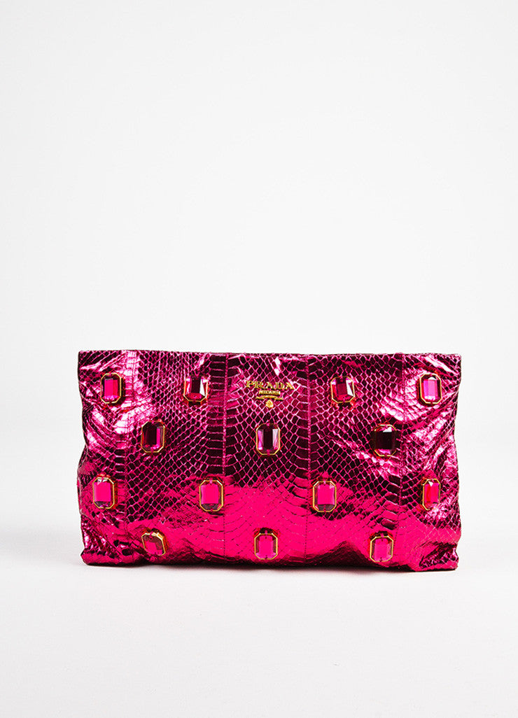 "Prada Magenta ""Ibisco Mordo"" Python Jeweled ""Whips Pietre"" Pouch Clutch Bag Frontview"