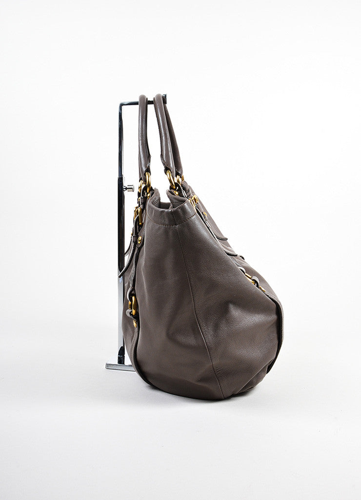 Taupe Prada Leather Bucket Bag Sideview