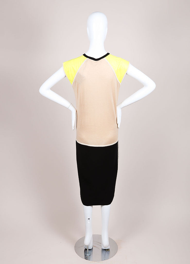Reed Krakoff New With Tags Black, Tan, and Yellow Colorblock Cap Sleeve Knit Dress Backview