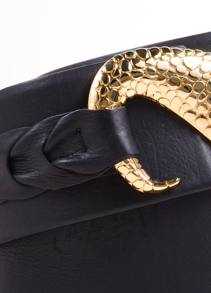 Roberto Cavalli Black Leather Wide Belt with Gold Toned Swirl Buckle Detail