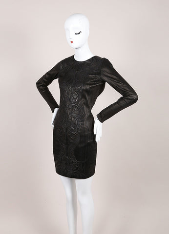 Roberto Cavalli New With Tags Black Leather Paneled Embroidered Bodycon Dress Sideview