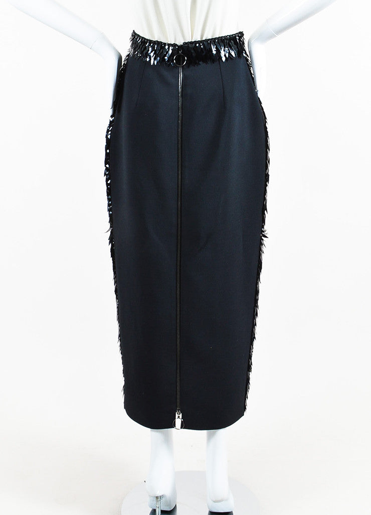 "Roksanda Black Organza Scale Embroidered ""Lawton"" Pencil Skirt Backview"