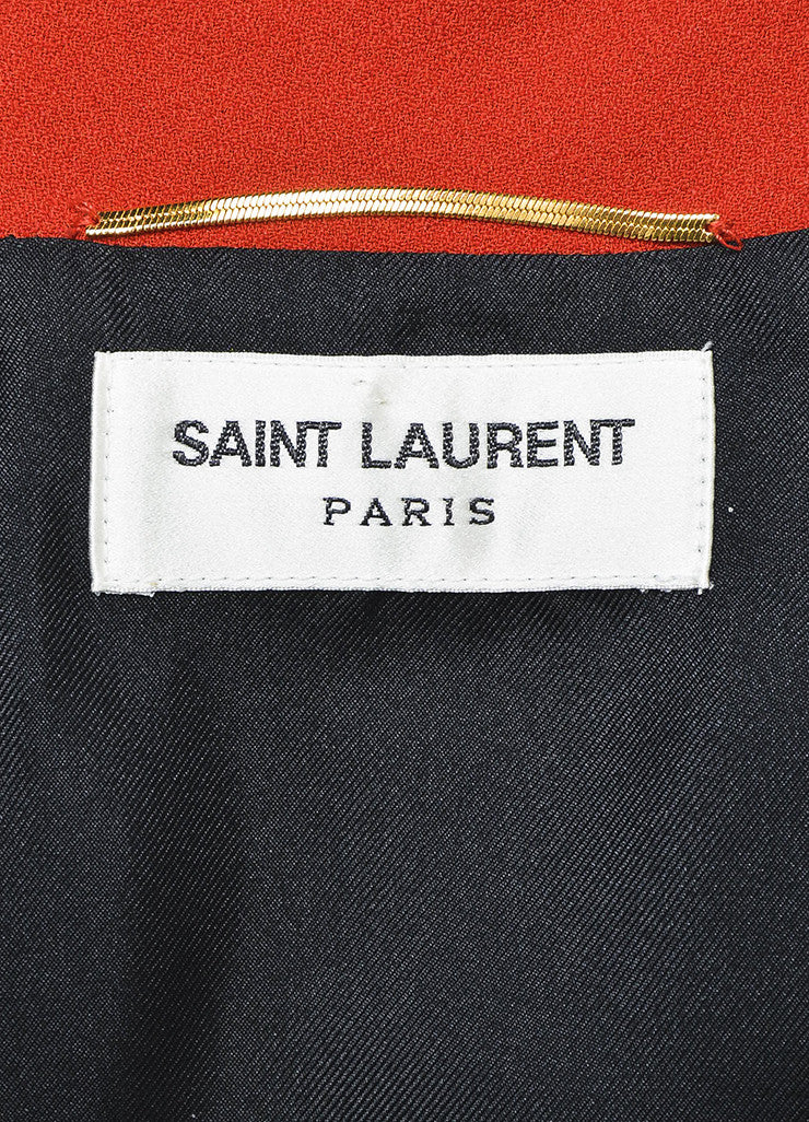 Saint Laurent Red and Black Dot Mesh Overlay Pleated Long Sleeve Dress Brand