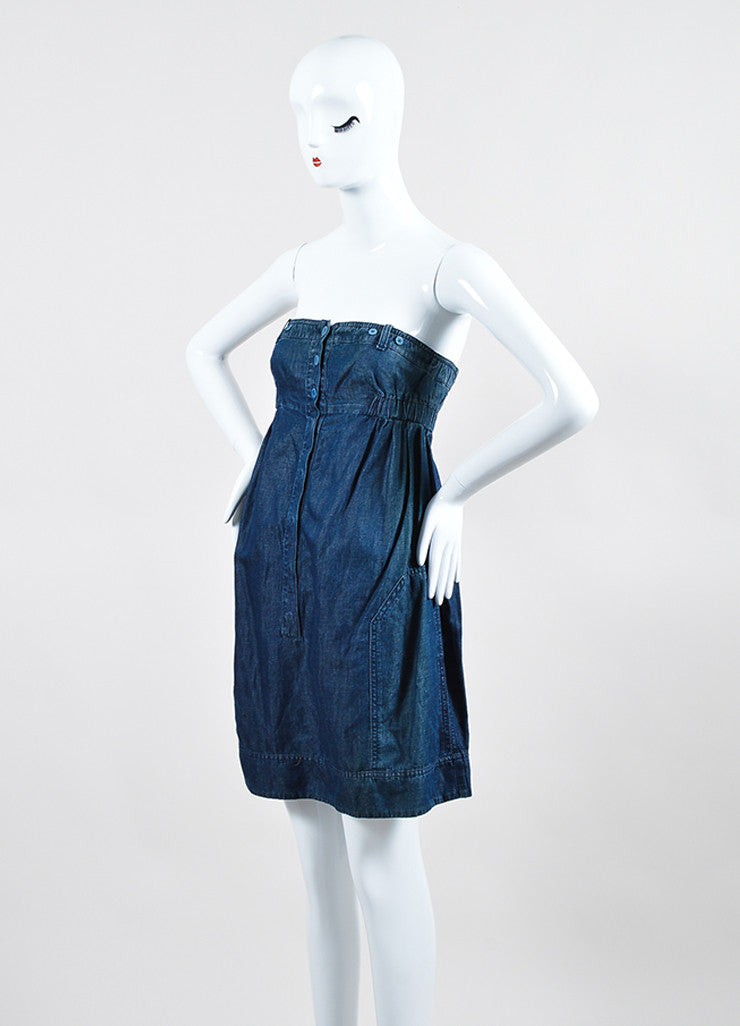 See by Chloe Blue Chambray Strapless Dress Sideview