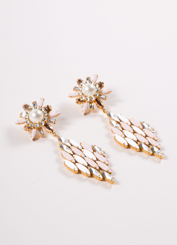 Shourouk White, Pink, and Gold Toned Rhinestone Starburst Diamond Drop Earrings Sideview