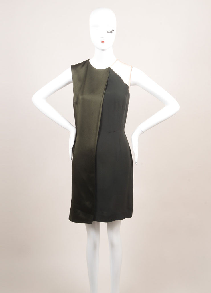 Stella McCartney New With Tags Green Draped Mesh Shoulder Sleeveless Dress Frontview