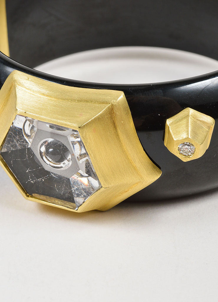 Susan Sadler 18K Gold, Black Bakelite, Rutilated Quartz, and Diamond Bangle Detail