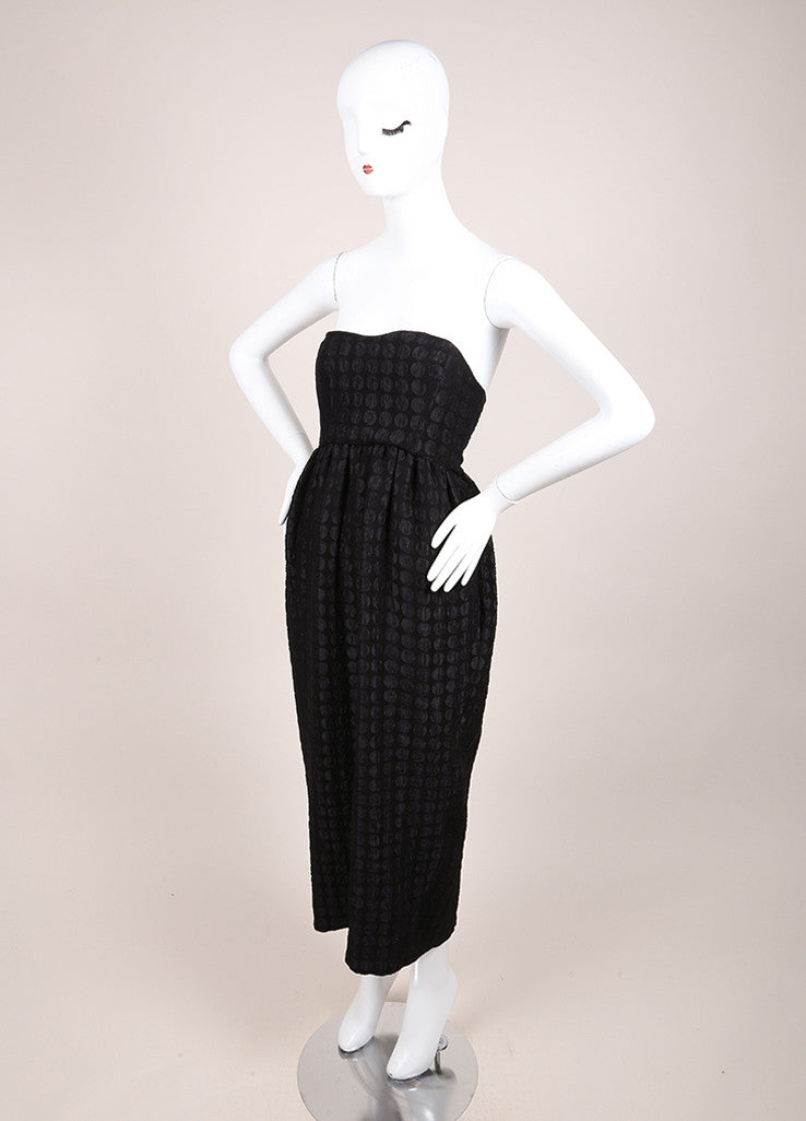 The Row New With Tags Black Polka Dot Strapless Silk and Wool Midi Dress Sideview