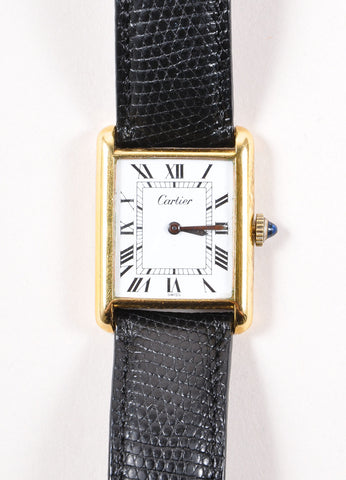 "Cartier 18K Gold Plated and Black Leather Strap ""Tank"" Automatic Watch Detail"
