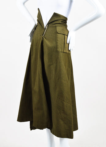 Comme des Garcons Army Green Pocketed Long A-Line Skirt Sideview
