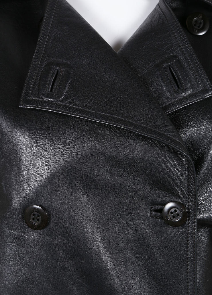 Gucci Black Leather Double Breasted Jacket Detail