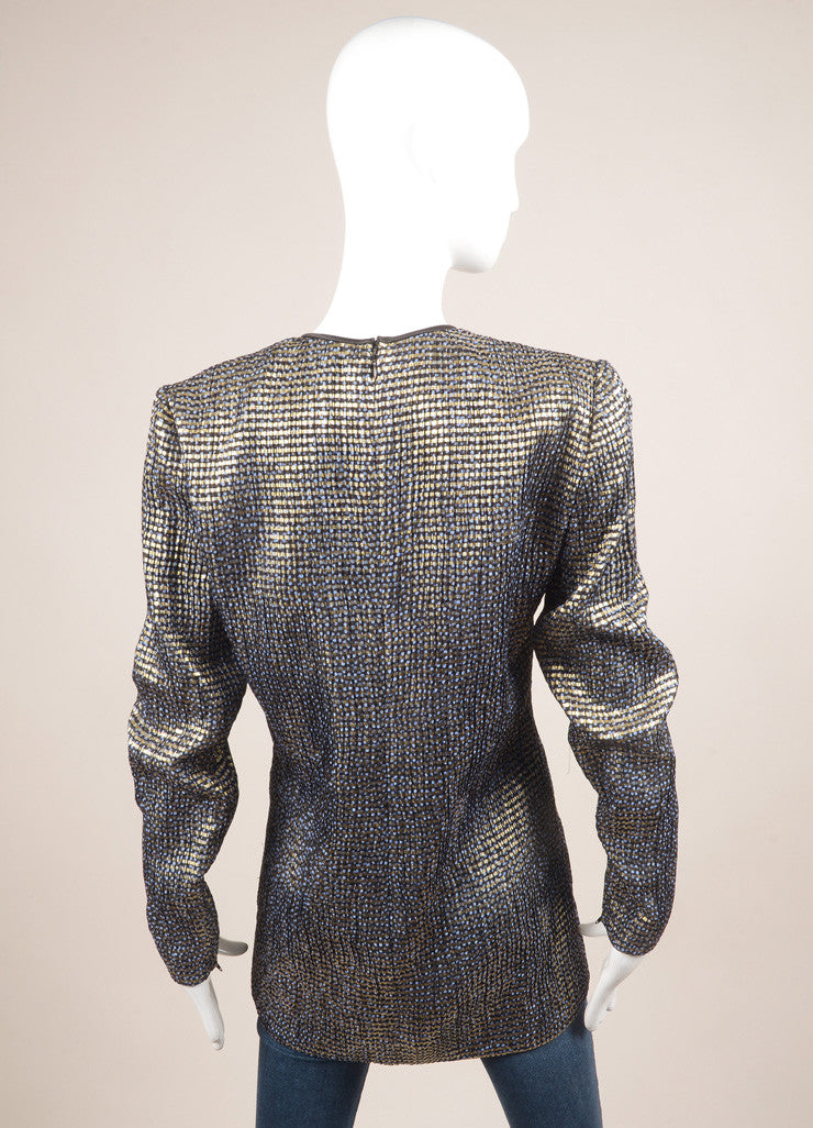 Vintage Navy Blue and Gold Metallic Patterned Long Sleeve Tunic Top Backview