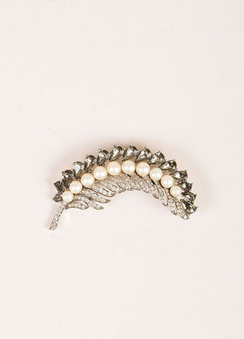 Trifari Silver Toned Rhinestone and Faux Pearl Embellished Feather Brooch Pin Frontview