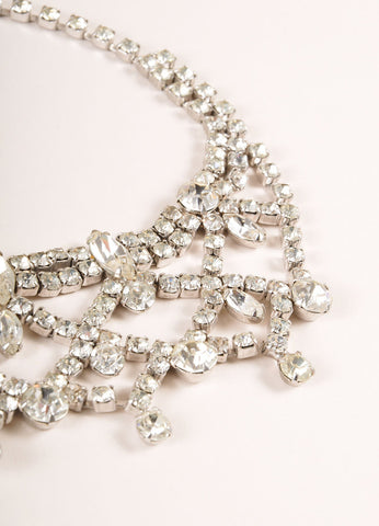 Weiss Silver Toned and Clear Rhinestone Gem Embellished Cocktail Necklace Detail
