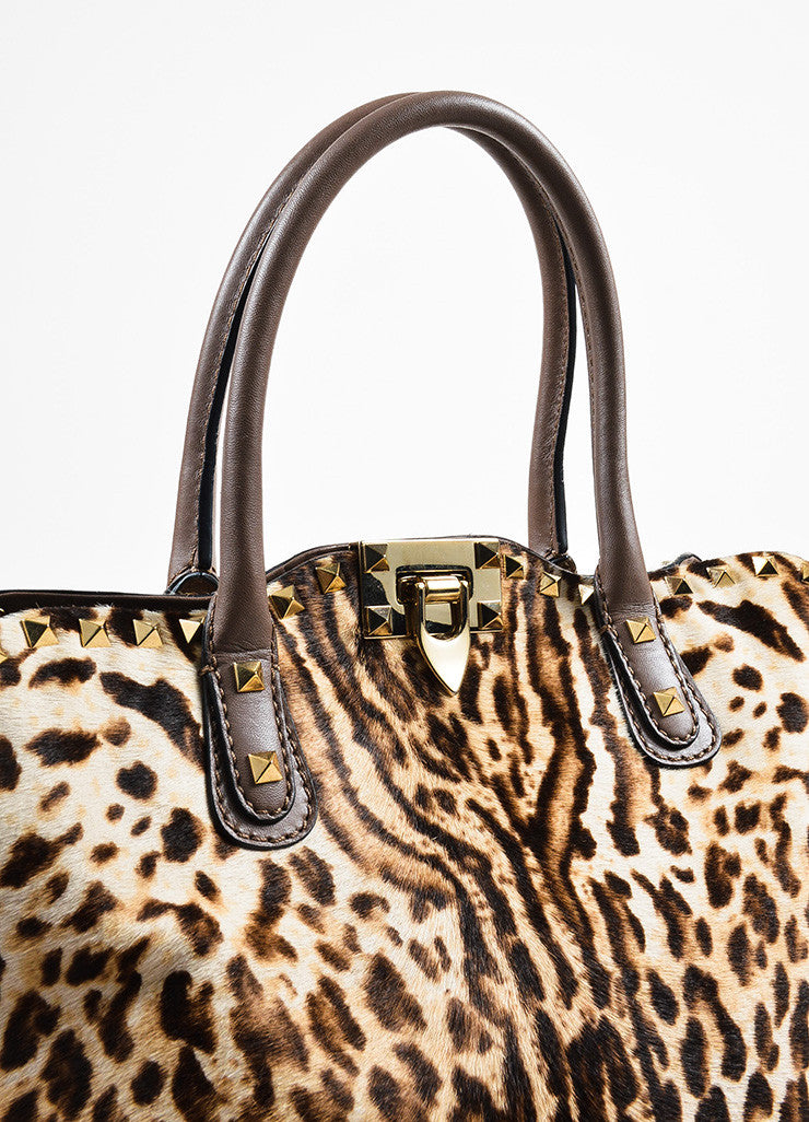 Valentino Brown, Tan, and Gold Leopard Print Pony Hair Rocktstud Handbag Detail 2