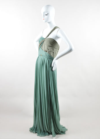 Versace Collection Sage Green Silk One Strap Pleated Gown Sideview