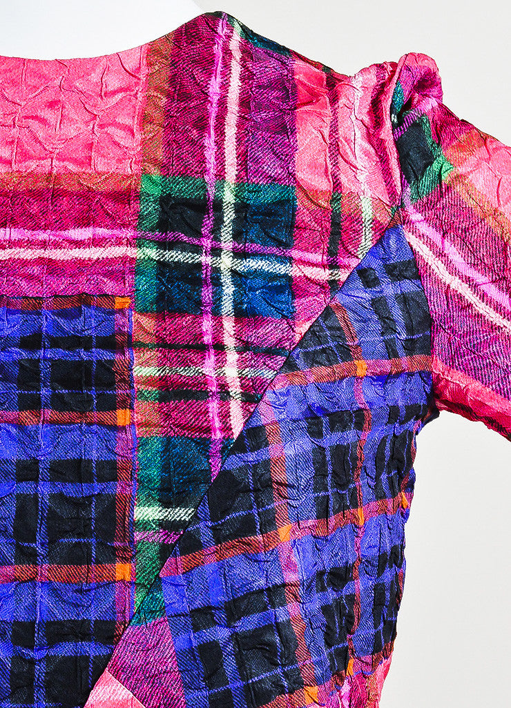 Victoria Victoria Beckham Multicolor Plaid Crinkle Shift Dress Detail