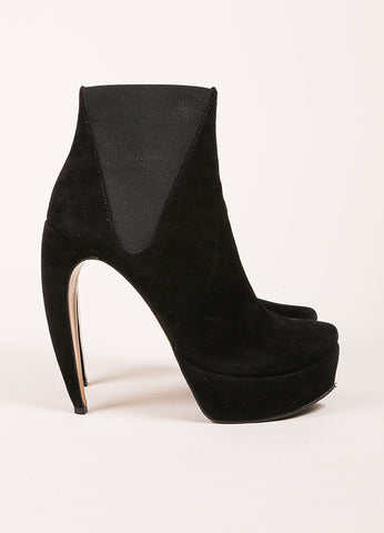 "Walter Steiger Black Suede Leather ""Oscar"" Curve Heel Ankle Boots Sideview"