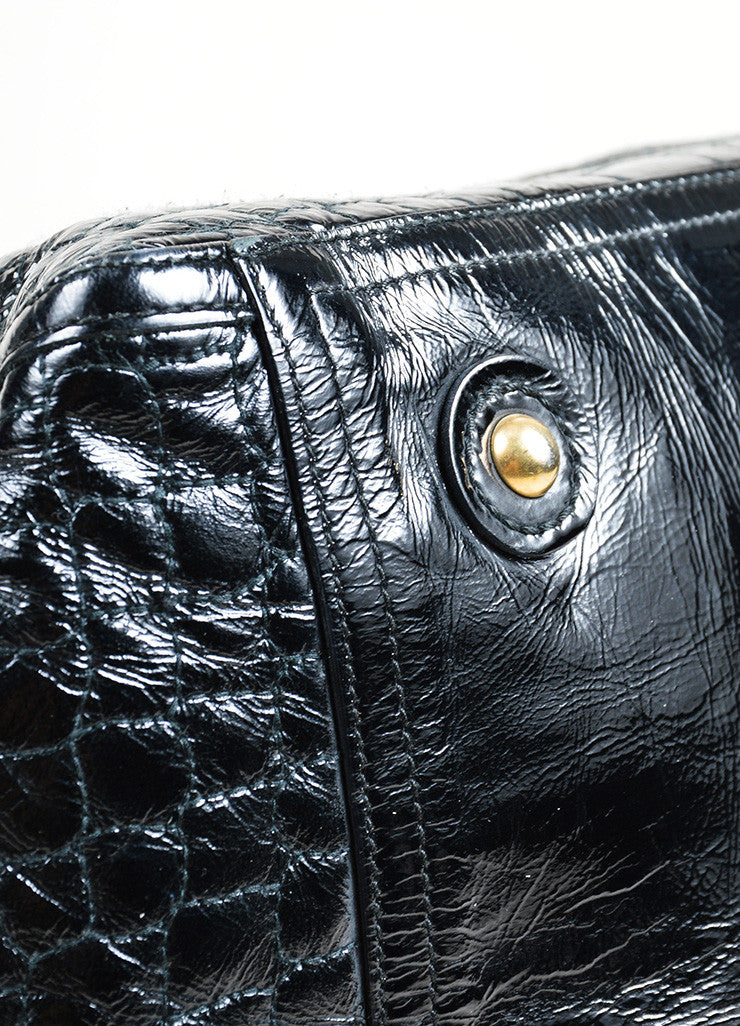 "Black Yves Saint Laurent Patent Leather Quilted Crocodile ""Downtown"" Tote Bag Detail"