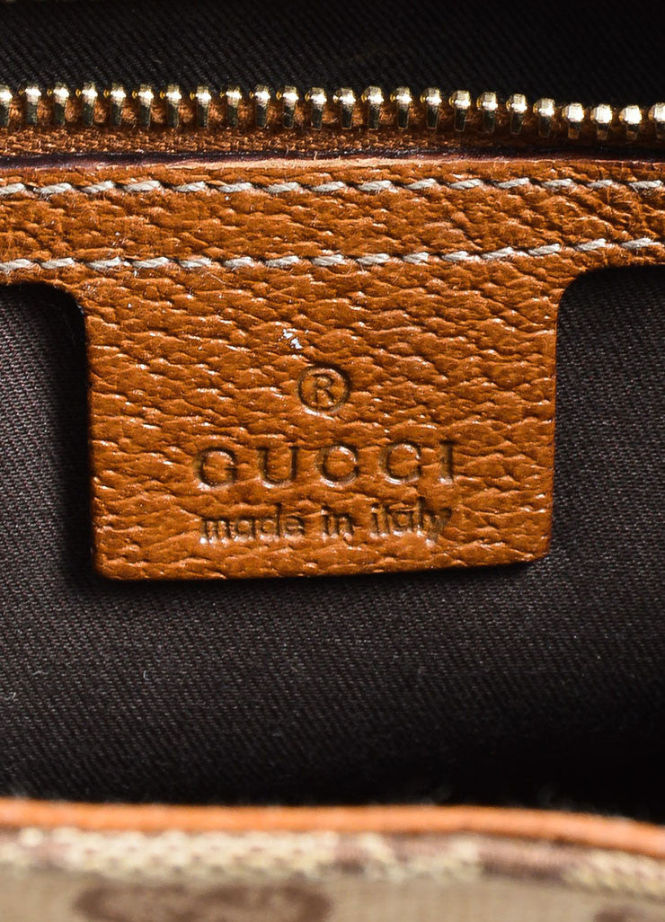 "Tan Gucci Monogram Canvas ""Nailhead Bardot"" Bag Brand"