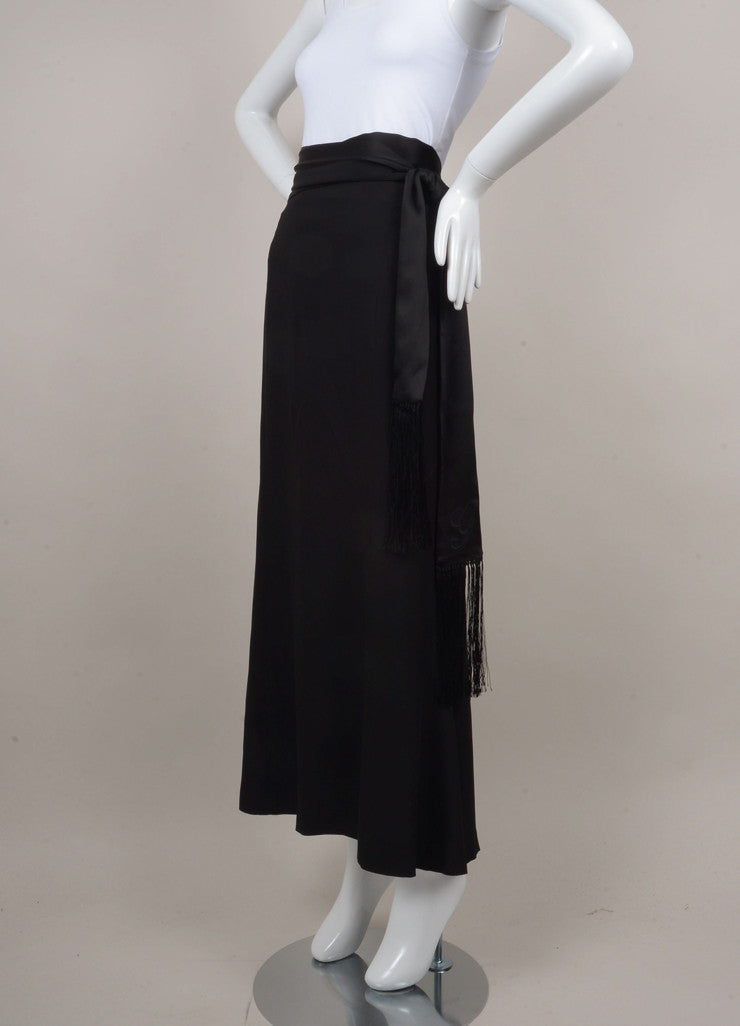 Black Maxi Skirt With Fringe Tie