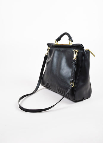 "3.1 Phillip Lim Black Leather Gold Toned Hardware ""Ryder"" Satchel Bag Sideview"