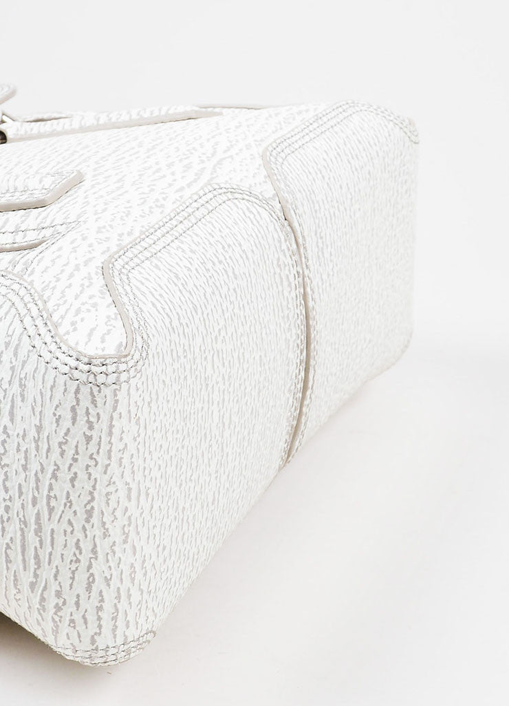 "3.1 Phillip Lim Cream and Grey Textured Leather Medium ""Pashli"" Satchel Bag Bottom View"