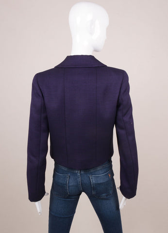 Chanel Black and Purple Wool and Silk Long Sleeve Jacket Backview