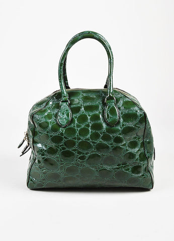 Alaia Glossy Green Embossed Patent Leather Structured Double Handle Tote Bag Frontview
