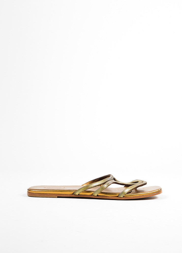 Gold Metallic Alaia Strappy Cut Out Flat Thong Slide Sandals Sideview