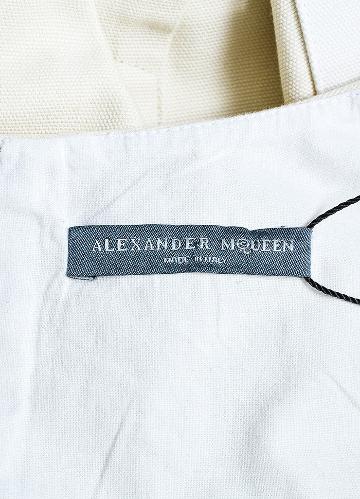 Alexander McQueen Beige and White Cotton Sleeveless A-Line Tunic Top Brand