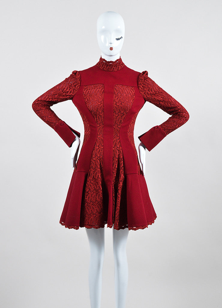 Burgundy Alexander McQueen Wool Blend Lace Paneled Pleated Dress Frontview
