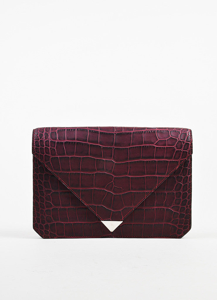 "Alexander Wang Red Leather Crocodile Embossed ""Prisma"" Envelope Clutch Bag Frontview"