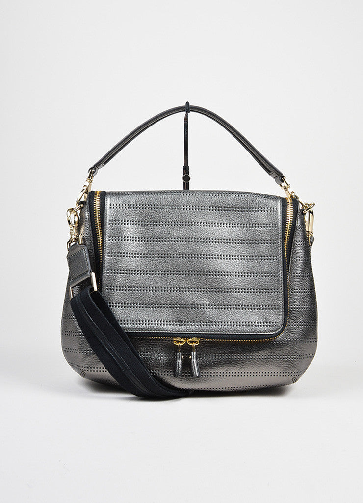 "Gunmetal Leather Perforated Zip Anya Hindmarch ""Capra"" Satchel Bag Frontview"