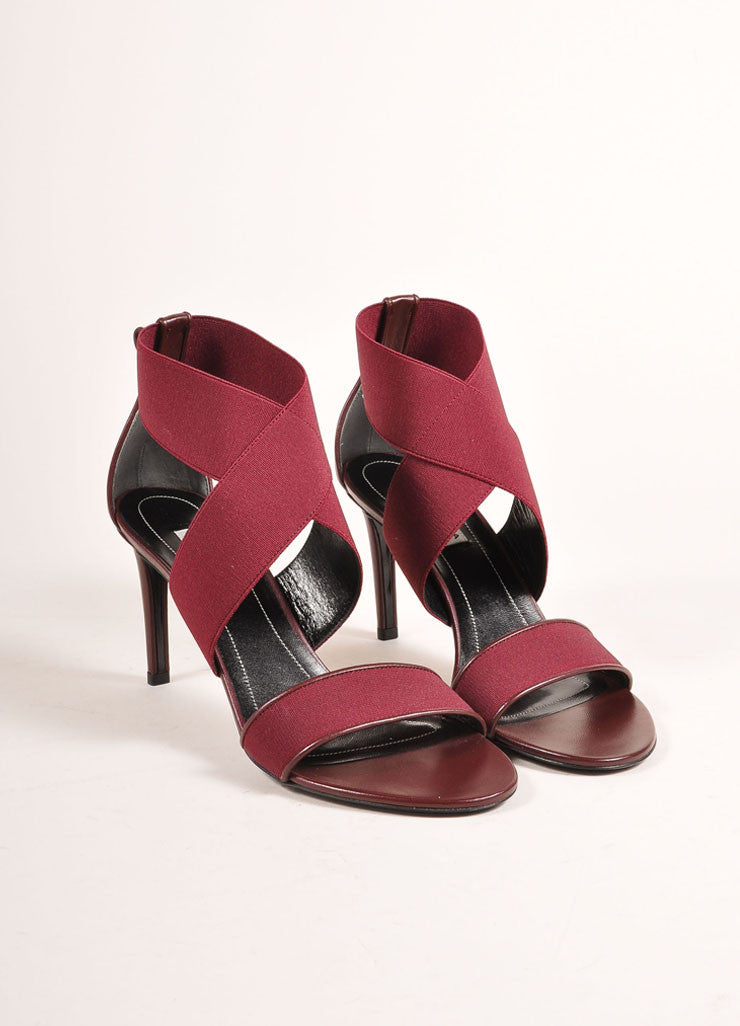 Balenciaga New In Box Maroon Elastic Leather Strappy High Heel Sandals Frontview