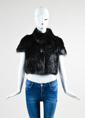 Black Barbara Bui Fur Cropped Short Sleeve Shrug Jacket Frontview 2