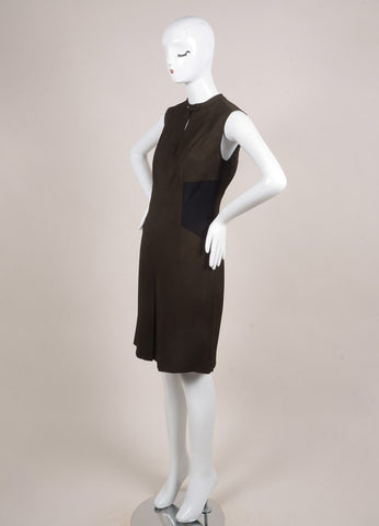 Belstaff Army Green and Black Woven Sleeveless Pleated Dress Sideview