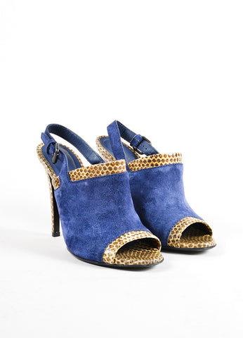 Bottega Veneta Navy and Tan Snakeskin and Suede Leather Slingback Sandals Frontview